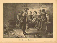 Children, Playing, Guess Which Hand, CUTE ! Vintage 1897 German Antique Print