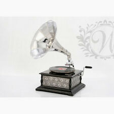 Retro Niquel Gramophone Period Phonograph Vintage Music Record Player Silver
