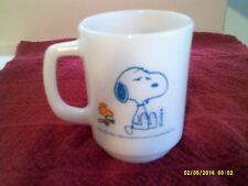 FIRE KING SNOOPY  I'M NOT WORTH A THING BEFORE COFFEE BREAK  MUG Cup White Blue