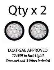 """4"""" Inch White 12 LED Round Backup Tail Truck Light w/ Grommet & Wiring-Qty 2"""