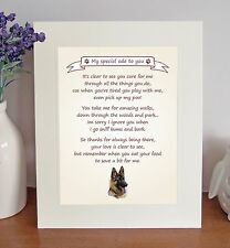"German Shepherd Dog 10""x8"" Free Standing 'Thank You' Poem Fun Gift FROM THE DOG"