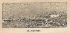 A0333 Manfredonia - Veduta - Stampa Antica del 1907 - Xilografia