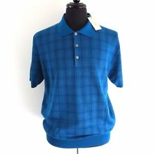 J-1521125 New Brioni Turquoise Knit Polo Short Sleeve Sweater Shirt Size XXL