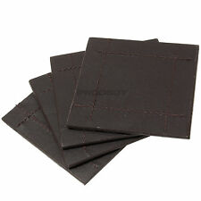Set of 4 Square Brown Faux Leather Drinks Coasters Mug Cup Table Desk Stitching