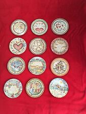 222 Fifth Twelve Days of Christmas Salad Plates, All 12 plates are Included, NEW