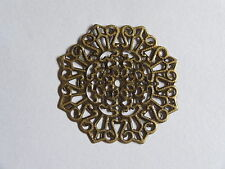 5 Antique Gold Filigree Metal Stamping Jewellery Connector Pendants 34mm