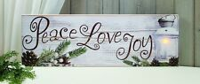 New Rustic Cabin Primitive Shabby PEACE LOVE JOY Pine Lantern Lighted Picture