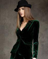 Hot Europe women's Skinny Slim Fit Gold short OL velvet blazer jacket Blouses