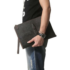 Men Leather Under-Arm Meeting Folio A4 Document Holder Zip Round Folder Bag