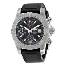 Breitling Avenger II Automatic Chronograph Black Dial Black Rubber Mens Watch