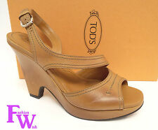 TODS Brown Wedge Size 7.5 Slingback Sandals Heels 38 Shoes 7 1/2