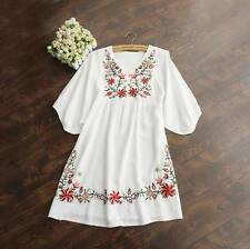 White Vintage 70s Women Mexican Ethnic Embroidered Pessant Hippie Mini Dress