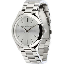 New Michael Kors Stainless Steel Silver MK3178 Women's Slim Runway Watch