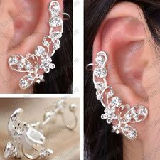 CLIP ON gothic fairy sparkly CRYSTAL EARRINGS big silver rhinestone CUFF PAIR
