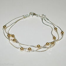 3 pcs Sterling Silver 925 Chain & Gold Filled Beads 3 Strands Two Tone ANKLETS