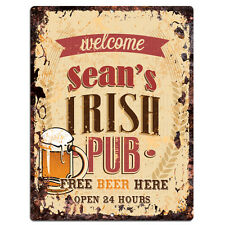 PMBP0094 SEAN'S IRISH PUB Rustic tin Sign PUB Bar Man cave Decor Gift