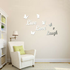 New Silver Acrylic 3D Mirror Effect Wall Sticker Home Decor Removable Art
