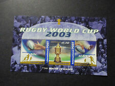 6---2003  RUGBY  WORLD  CUP  MINI  SHEET--USED  NO  GUM   TOP  ORDER  -A1