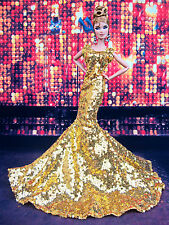 Gold Sequine Evening Mermaid Dress Outfit Gown Silkstone Barbie Fashion Royalty