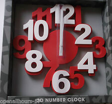 Large 3D Red  Number Wall Clock By Perfect Timing Home Kitchen New