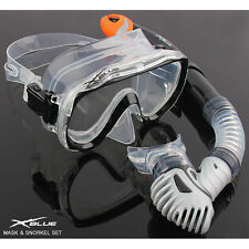 X Blue Dive Mask + Dry Snorkel Set Scuba Snorkeling Gear Kit Aqua Black/White