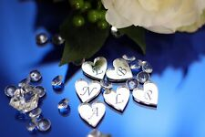 100 Personalised engraved mirror acrylic heart Wedding confetti Initial