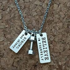 Dumbbell Believe In Yourself , Strong Not Skinny necklace,Exercise,Necklace
