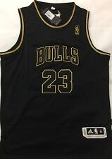 "NBA Brand New Michael Jordan ""Gold Limited Edition"" Black Jersey,Stitched Size M"