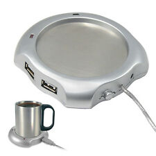 USB Tea Coffee Cup Mug Warmer Heater Pad with 4 USB Port Hub With On/Off Switch