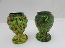 Two Beautifully Decorated Vintage Hand Painted Art Glass Vases 13cm