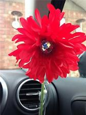 VW beetle red shaggy gerbera & gem dash board bud vase flower, universal