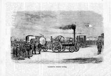 Stampa antica LOCOMOTIVA STRADALE A VAPORE AVELING 1876 treno Old print