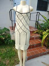 MOSCHINO CHEAP AND CHIC CREAM COLOR SLEEVELESS WOVEN DETAIL COCKTAIL DRESS Sz 10