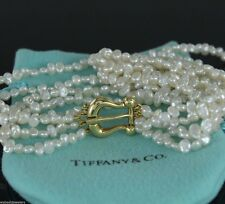 Rare Buckle Clasp Tiffany 18K Yellow Gold Four Strand Freshwater Pearl Necklace