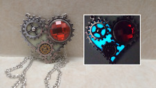Steampunk GEAR HEART GLOW in the DARK Aqua Crystal Charm Pendant Necklace