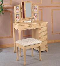Cottage Style Hand Painted Photo Vanity Table and Stool by Coaster 4038