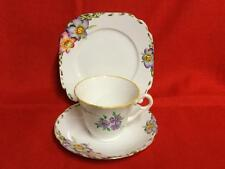 Vintage Standard Bone China Tea Set TRIO Cup Saucer Side Plate Lilac Flowers VG
