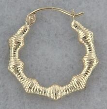 14k Yellow Gold Small Geometric Bamboo Hoops. Hollow. Great Grad Present