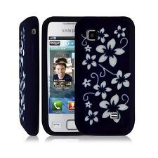 coque étui silicone pour Samsung S5750 Wave 575 fleurs violet + film protecteur