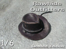 1:6 Limited Edition Brown Weathered Genuine Leather Western Hat