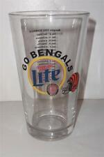 Cincinnati Go Bengals Miller Lite 2002 Schedule Beer Glass Free Ship -071404