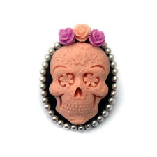 Pink and Black Sugar Skull Brooch, Day of the Dead, Rockabilly, Women's Pin