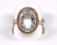 Fine Oval Cut Aquamarine Solitaire Ring w/Diamond Halo 14k Rose Gold 5.19Ct