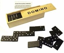 SET OF CLASSIC BLACK DOUBLE SIX DOMINOES WOODEN BOX GAMES TRAVEL CHILDREN