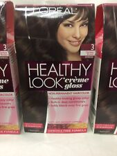 3 X L'Oreal Healthy Look Creme Gloss Hair Color DARKEST BROWN ESPRESSO #3 NEW.
