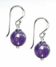 10mm Faceted Amethyst Gemstone & Sterling Silver Hook Drop Earrings + Gift Box