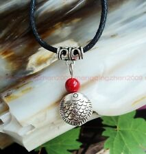 Original handmade Tibet silver fish red coral beads pendant necklace