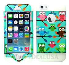 Hybrid Silicone Cover Case for Apple iPhone 5 5S - Baby Owls 00