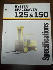 Hyster Lift Truck Brochure~S125A  S150A SpacesaverStevedore Truck~Specifications
