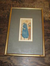 ART DECO F LORENZI PERIOD FRAMED PRINT OR DRAWING OF A  ELEGANT LADY PRETTY